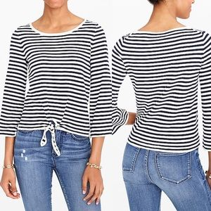 J.Crew Striped boatneck tie-front sweater